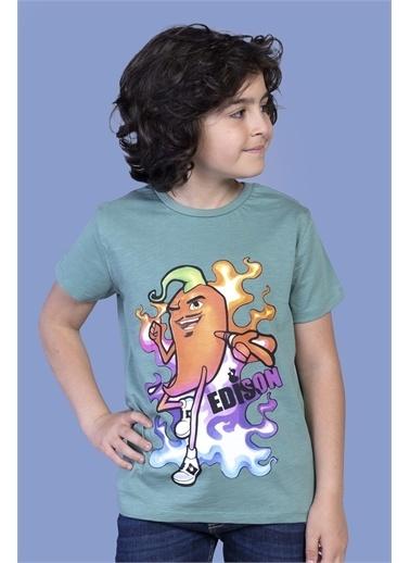 Toontoy Kids Toontoy Erkek Çocuk Acı Biber Baskılı Tişört Yeşil